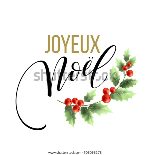 Christmas In French.Merry Christmas Card Template Greetings French Stock Vector