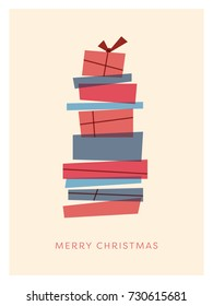 Merry Christmas card template with retro vintage overlay christmas presents stack. Minimalistic artistic holiday celebration background. Eps10 vector illustration.