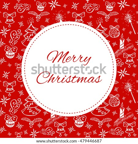 Merry Christmas Card Template Vector Print Stock Vector Royalty
