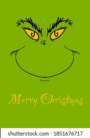 merry christmas card with text in yellow letters. with the grin of the green monster kidnapper christmas