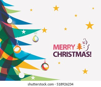 merry christmas card vector illustration in modern vibrant style