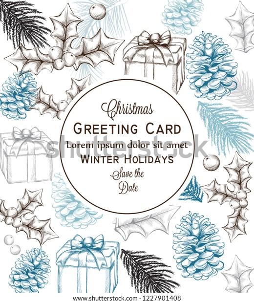 Merry Christmas Card Vector Lineart Christmas Stock Vector