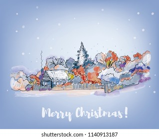 Merry Christmas card with village and snow, sketch style. Vector graphic illustration