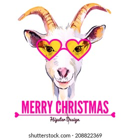 Merry Christmas card with watercolor portrait of hipster goat. Hand drawn vector illustration