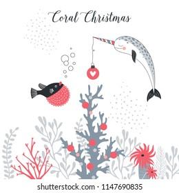Merry Christmas card, whimsical art