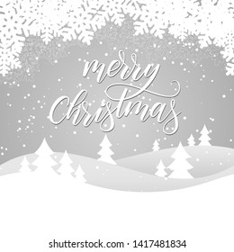 Merry Christmas card with winter landscape on grey background. Vector illustration