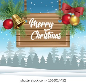 merry christmas card with wooden label in snowscape vector illustration design