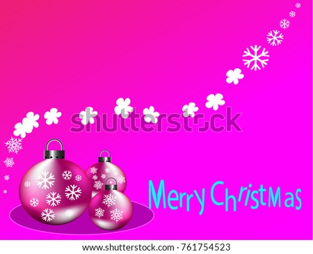 Merry Christmas Card Xmas Ball Pink Stock Vector (Royalty Free ...
