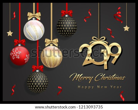 Merry Christmas Cards Design New Year Stock Vector Royalty Free