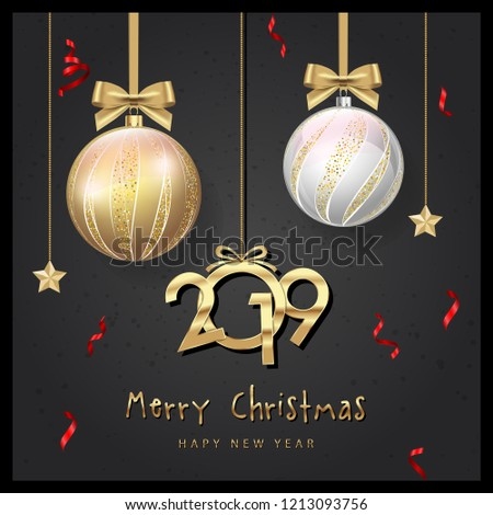 merry christmas cards design and new year typographical christmas balls background vector illustration