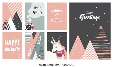 Merry Christmas cards, illustrations and icons, lettering design collection. vector illustration