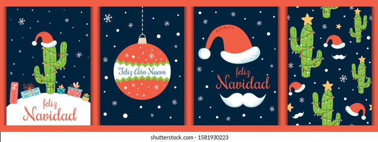 Merry Christmas cards set Spanish, Ano Nuevo decorated Christmas cactus, Santa hat, mustache, ball on dark blue background. Winter invitation, greeting card, prints. Vector illustration.
