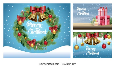 merry christmas cards with snowscapes and decorations vector illustration design