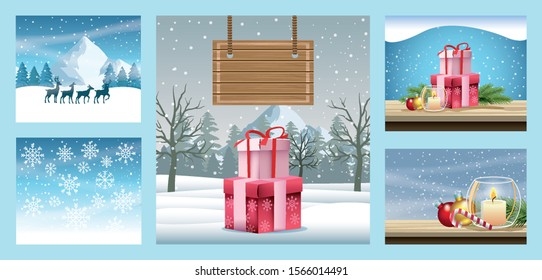 merry christmas cards with snowscapes scenes vector illustration design