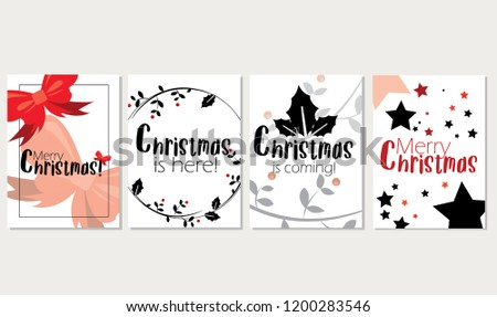Merry Christmas Cards Winter Holiday Bundle Stock Vector Royalty