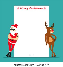 Merry Christmas! Cartoon reindeer Rudolf and Santa Claus. Greeting card 2019. Place for text. Vector illustration