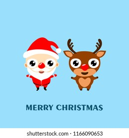 Merry Christmas! Cartoon reindeer Rudolph and Santa Claus. Greeting card 2019,  vector illustration