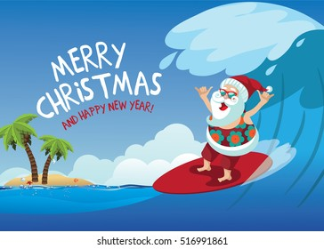 Merry Christmas Cartoon Santa Claus surfing a gnarly wave while giving the shaka hand sign. Background with copy space for tropical Christmas or after Christmas. EPS 10 vector.