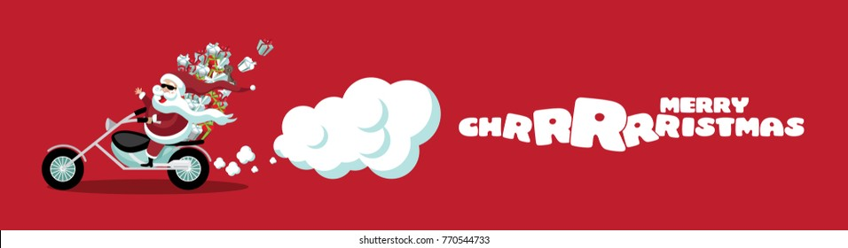 Merry Christmas cartoon Santa Claus riding a cool motorcycle banner. Santa delivers gifts for christmas. EPS 10 vector illustration.