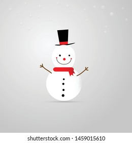 Merry Christmas. Cartoon of snow man wearing black hat and snow fall.Vector illustration.