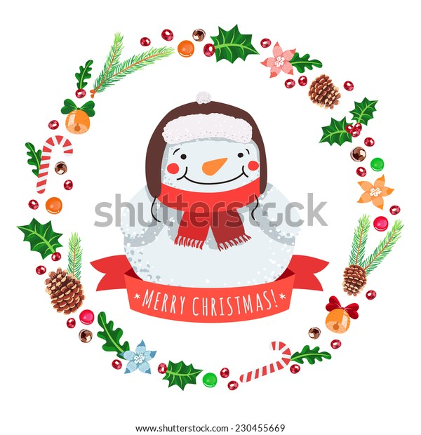 Merry Christmas cartoon snowman in a hat with Christmas wreath vector greeting card.