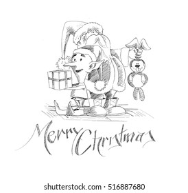 Merry Christmas. Cartoon Style Hand Sketchy drawing of a funny Santa Claus holding rabbit and snowmen holding a gift pack with white background, vector illustration