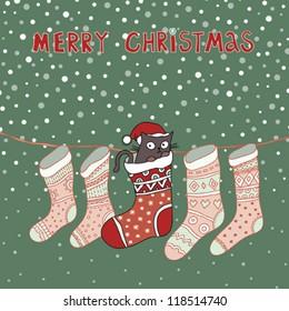 Merry Christmas Cat in Sock Vector Illustration