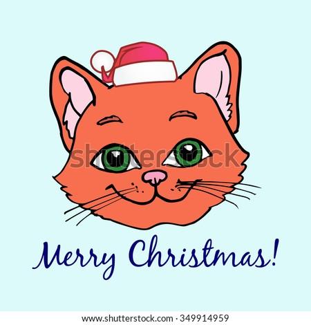 merry christmas cat vector illustration - Merry Christmas Cat