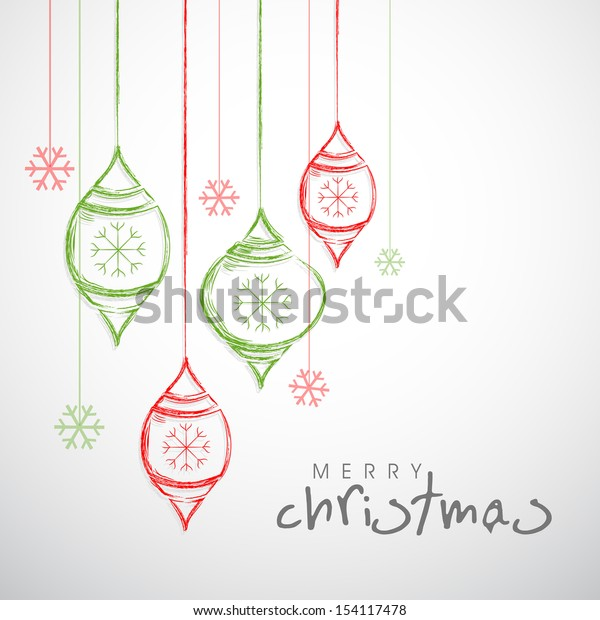 Merry Christmas celebration background with colorful hanging decorative.