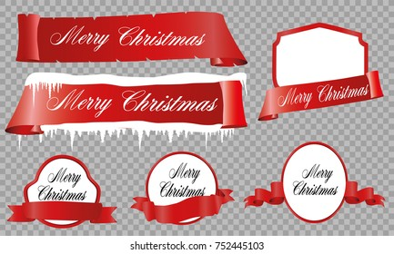 Merry Christmas celebration background with red ribbon banner, snow. Vector illustration
