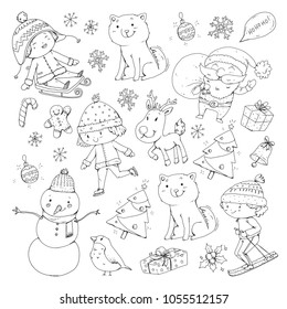 merry christmas celebration children kids drawing stock vector Cartoon Skin merry christmas celebration with children kids drawing illustration with ski gifts santa claus