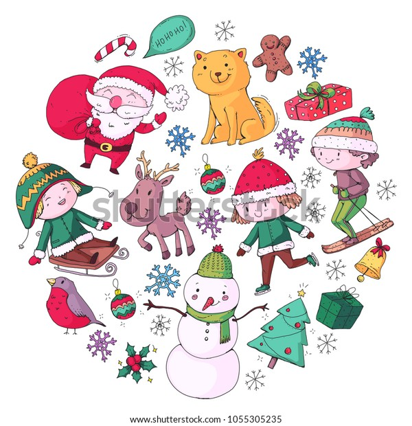 Merry Christmas Celebration Children Kids Drawing Stock Vector Royalty Free 1055305235