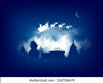 Merry Christmas celebration greeting card design with silhouette of a snowman and santa riding his reindeer sleigh on night view background.