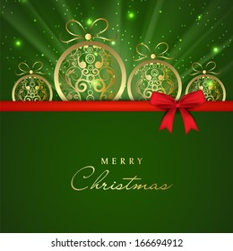 Merry Christmas celebration greeting card or gift card with floral decorated Xmas balls on green background and red ribbon.
