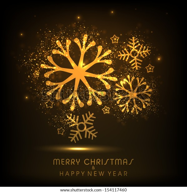 Merry Christmas celebration shiny background with golden snowflakes.