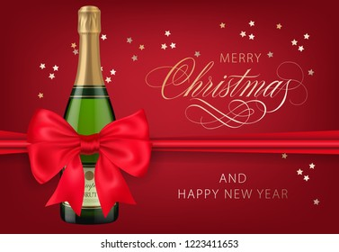 Merry Christmas with champagne bottle red postcard design. Inscription with champagne bottle, red bowknot and confetti on red background. Can be used for greetings, postcards, banners