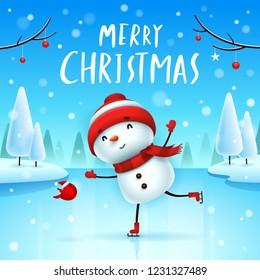 Merry Christmas! Cheerful snowman on skates in Christmas snow scene winter landscape.
