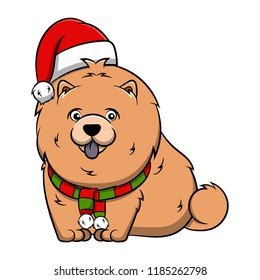 Merry Christmas Chow Chow Cartoon Dog. Vector illustration of purebred Christmas chow chow dog.