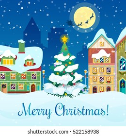 Merry Christmas Cityscape Snowfall, Tree and Santa with Reindeers Greeting Card. Vector background