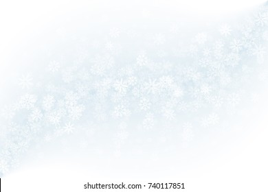 Merry Christmas Clear Vector Background. Frost Effect on Glass with Realistic Snowflakes Overlay on Light Blue Backdrop. Xmas Holidays Abstract Illustration