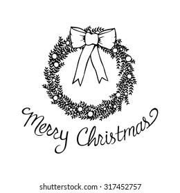 Merry Christmas clip art of an abstract floral wreath with berries and big bow.