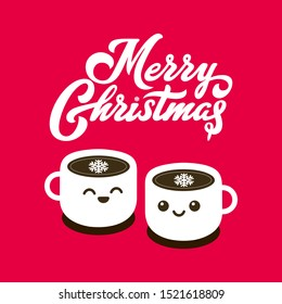 Merry Christmas Coffee poster. Kawaii coffee cups. Cups of coffee with happy face vector cartoon illustration.