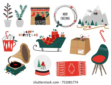 Merry Christmas  collection. Scandinavian christmas design set. Vector illustration. Nordic house, winter forest, gifts, deer with sledge. Typographic design.