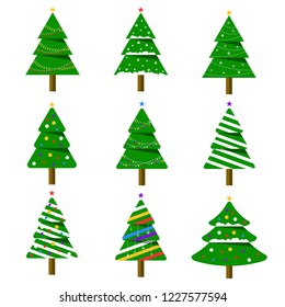 Merry Christmas. Collection of Christmas trees. Winter background. Vector illustration