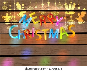 Merry Christmas color card with Angels and letters over wood background, vector
