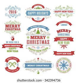 Merry Christmas color labels set with wish color style for greeting card. Christmas emblem. Happy New Year. Holiday decoration element. Vector Illustration