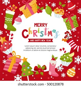 Merry Christmas colorful background. Place for your text. Vector frame with gift, socks, ball, cakes and bow. Xmas concept. Creative design for invitation and party.