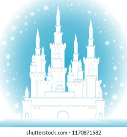 Merry Christmas colorful illustration with castle in frozen forest. Happy New Year vector background
