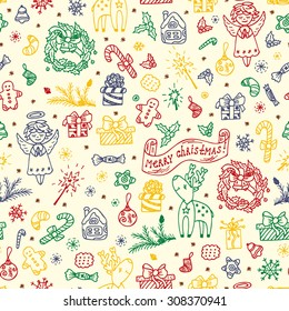 Merry Christmas. Colorful Christmas seamless pattern. Holiday background. Celebratory Endless texture. Hand Drawn Doodles illustration.