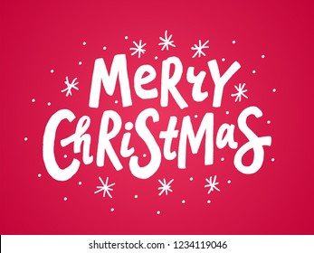 Merry Christmas colorful text. Vector illustration. Cartoon merry xmas design element white isolated on red background. Design for print Hand drawn text lettering for christmas greetings card, poster